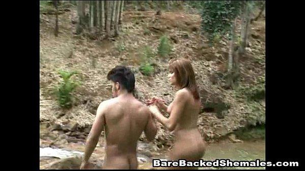 Brunette Shemale Gets Bareback Sex