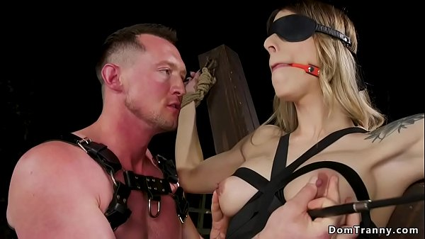 Blindfolded busty shemale slave anal sex