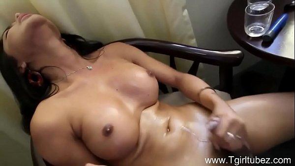 Asian Shemale Stroking Her Cock www.Tgirltubez.com